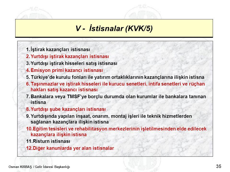Osman KIRBAŞ / Gelir İdaresi Başkanlığı 35 V - İstisnalar (KVK/5) 1.İştirak kazançları istisnası 2.Yurtdışı iştirak kazançları istisnası 3.Yurtdışı iş