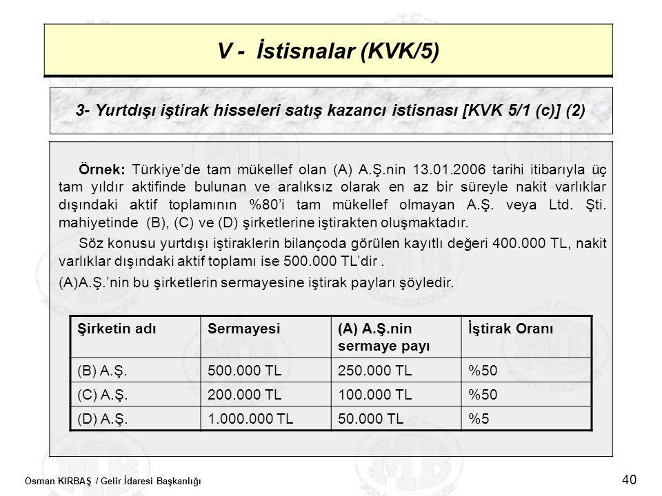 Osman KIRBAŞ / Gelir İdaresi Başkanlığı 40 V - İstisnalar (KVK/5) 3- Yurtdışı iştirak hisseleri satış kazancı istisnası [KVK 5/1 (c)] (2) Örnek: Türki
