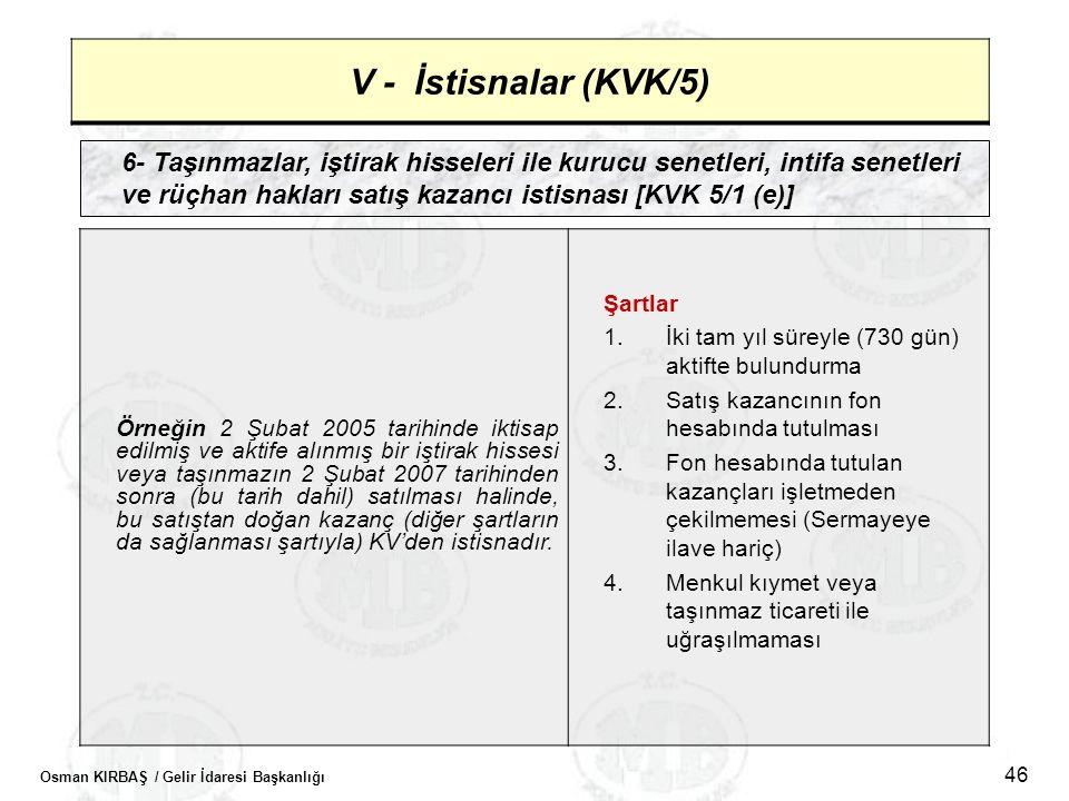 Osman KIRBAŞ / Gelir İdaresi Başkanlığı 46 V - İstisnalar (KVK/5) 6- Taşınmazlar, iştirak hisseleri ile kurucu senetleri, intifa senetleri ve rüçhan h