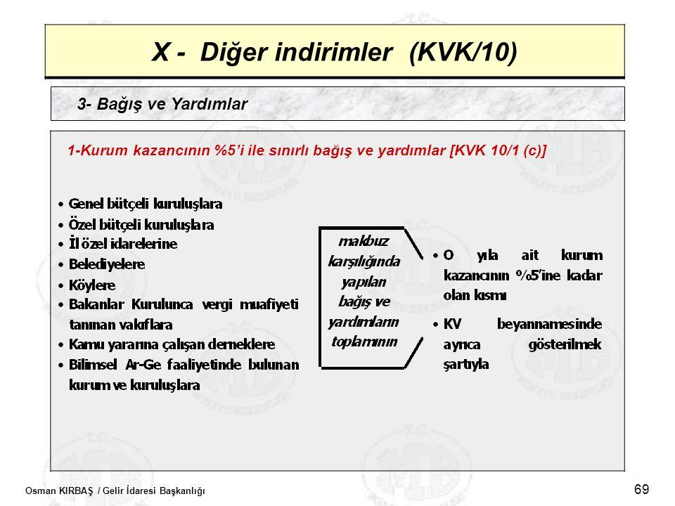 Osman KIRBAŞ / Gelir İdaresi Başkanlığı 69 X - Diğer indirimler (KVK/10) 3- Bağış ve Yardımlar 1-Kurum kazancının %5'i ile sınırlı bağış ve yardımlar