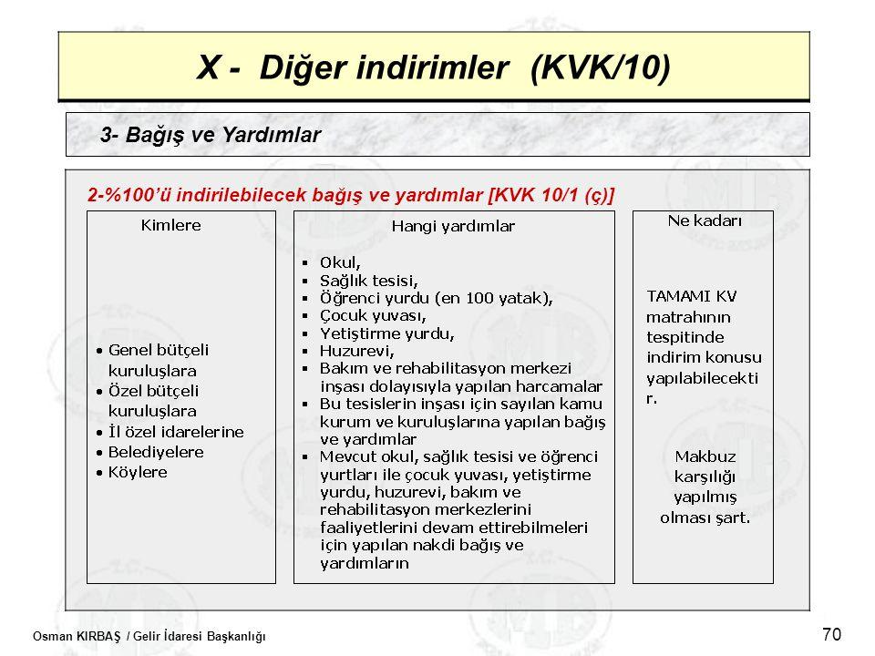 Osman KIRBAŞ / Gelir İdaresi Başkanlığı 70 X - Diğer indirimler (KVK/10) 3- Bağış ve Yardımlar 2-%100'ü indirilebilecek bağış ve yardımlar [KVK 10/1 (