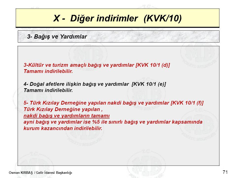 Osman KIRBAŞ / Gelir İdaresi Başkanlığı 71 X - Diğer indirimler (KVK/10) 3- Bağış ve Yardımlar 3-Kültür ve turizm amaçlı bağış ve yardımlar [KVK 10/1