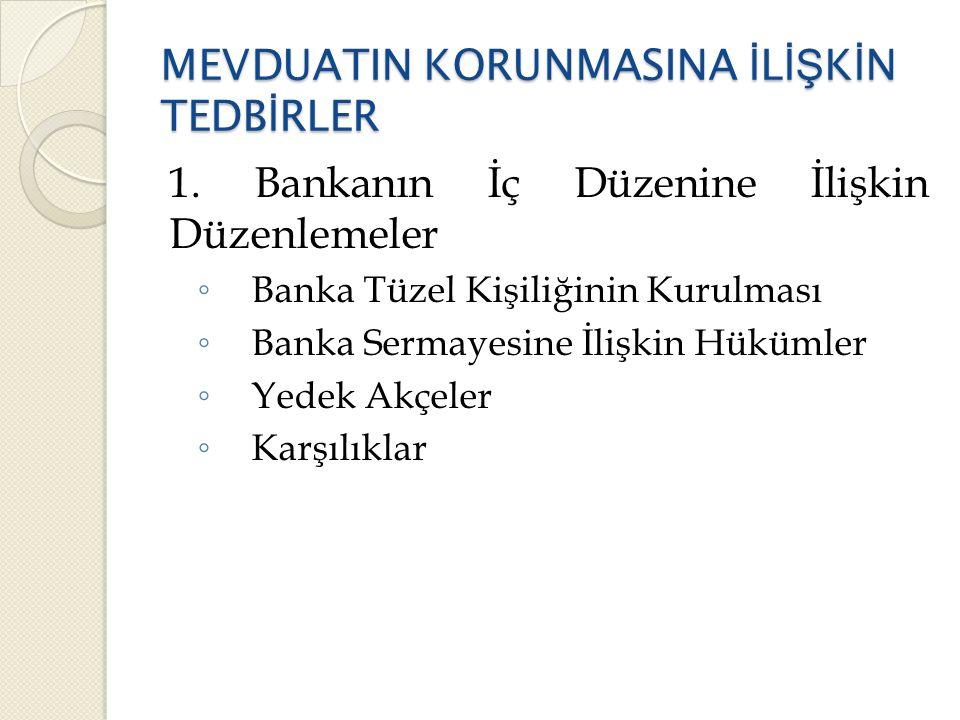 MEVDUATIN KORUNMASINA İ L İŞ K İ N TEDB İ RLER 1.