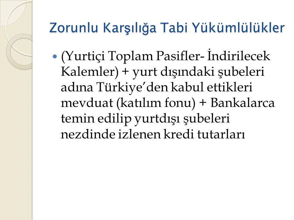 Zorunlu Kar ş ılı ğ a Tabi Yükümlülükler  (Yurtiçi Toplam Pasifler- İndirilecek Kalemler) + yurt dışındaki şubeleri adına Türkiye'den kabul ettikleri mevduat (katılım fonu) + Bankalarca temin edilip yurtdışı şubeleri nezdinde izlenen kredi tutarları