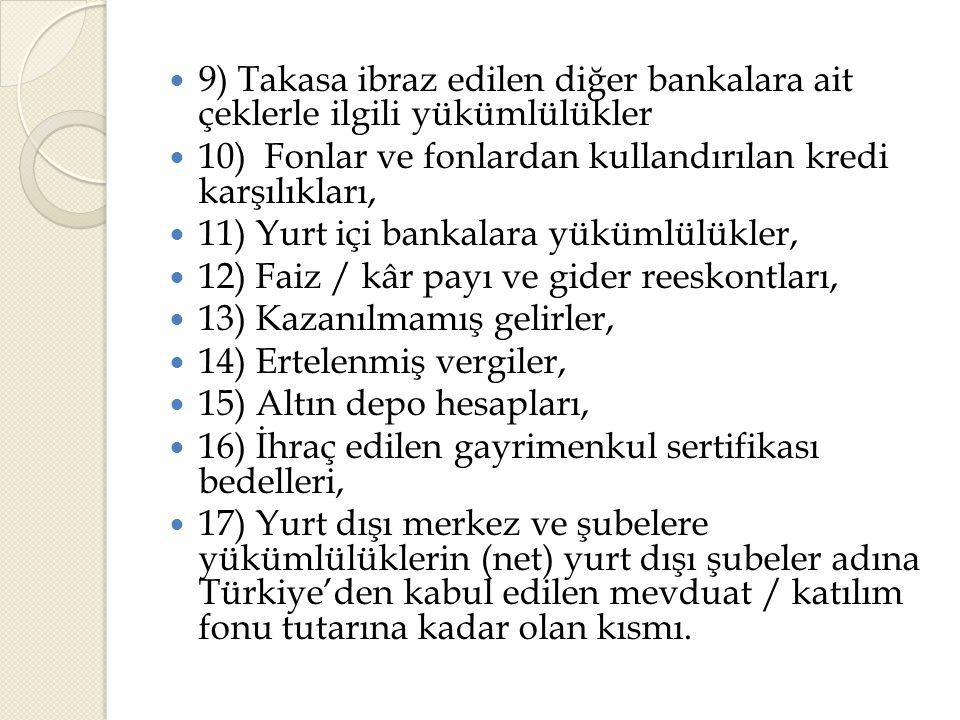  9) Takasa ibraz edilen diğer bankalara ait çeklerle ilgili yükümlülükler  10) Fonlar ve fonlardan kullandırılan kredi karşılıkları,  11) Yurt içi bankalara yükümlülükler,  12) Faiz / kâr payı ve gider reeskontları,  13) Kazanılmamış gelirler,  14) Ertelenmiş vergiler,  15) Altın depo hesapları,  16) İhraç edilen gayrimenkul sertifikası bedelleri,  17) Yurt dışı merkez ve şubelere yükümlülüklerin (net) yurt dışı şubeler adına Türkiye'den kabul edilen mevduat / katılım fonu tutarına kadar olan kısmı.