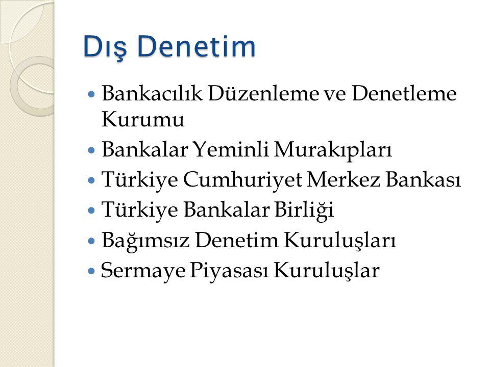 Dı ş Denetim  Bankacılık Düzenleme ve Denetleme Kurumu  Bankalar Yeminli Murakıpları  Türkiye Cumhuriyet Merkez Bankası  Türkiye Bankalar Birliği  Bağımsız Denetim Kuruluşları  Sermaye Piyasası Kuruluşlar