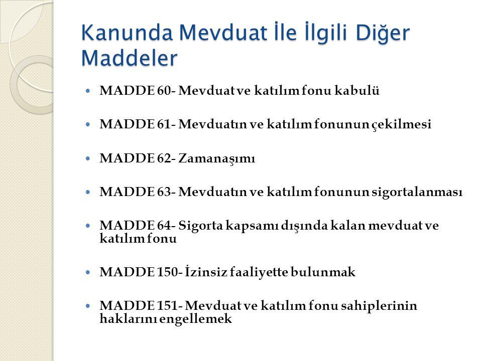Kanunda Mevduat İ le İ lgili Di ğ er Maddeler  MADDE 60- Mevduat ve katılım fonu kabulü  MADDE 61- Mevduatın ve katılım fonunun çekilmesi  MADDE 62- Zamanaşımı  MADDE 63- Mevduatın ve katılım fonunun sigortalanması  MADDE 64- Sigorta kapsamı dışında kalan mevduat ve katılım fonu  MADDE 150- İzinsiz faaliyette bulunmak  MADDE 151- Mevduat ve katılım fonu sahiplerinin haklarını engellemek
