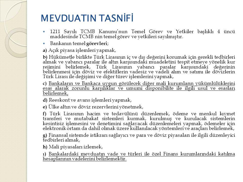 MEVDUATIN TASN İ F İ  1211 Sayılı TCMB Kanunu'nun Temel Görev ve Yetkiler başlıklı 4 üncü maddesinde TCMB nin temel görev ve yetkileri sayılmıştır.