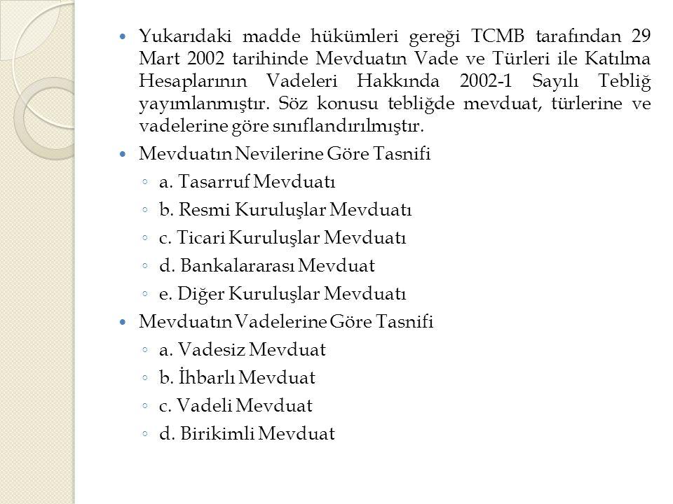  Yukarıdaki madde hükümleri gereği TCMB tarafından 29 Mart 2002 tarihinde Mevduatın Vade ve Türleri ile Katılma Hesaplarının Vadeleri Hakkında 2002-1 Sayılı Tebliğ yayımlanmıştır.