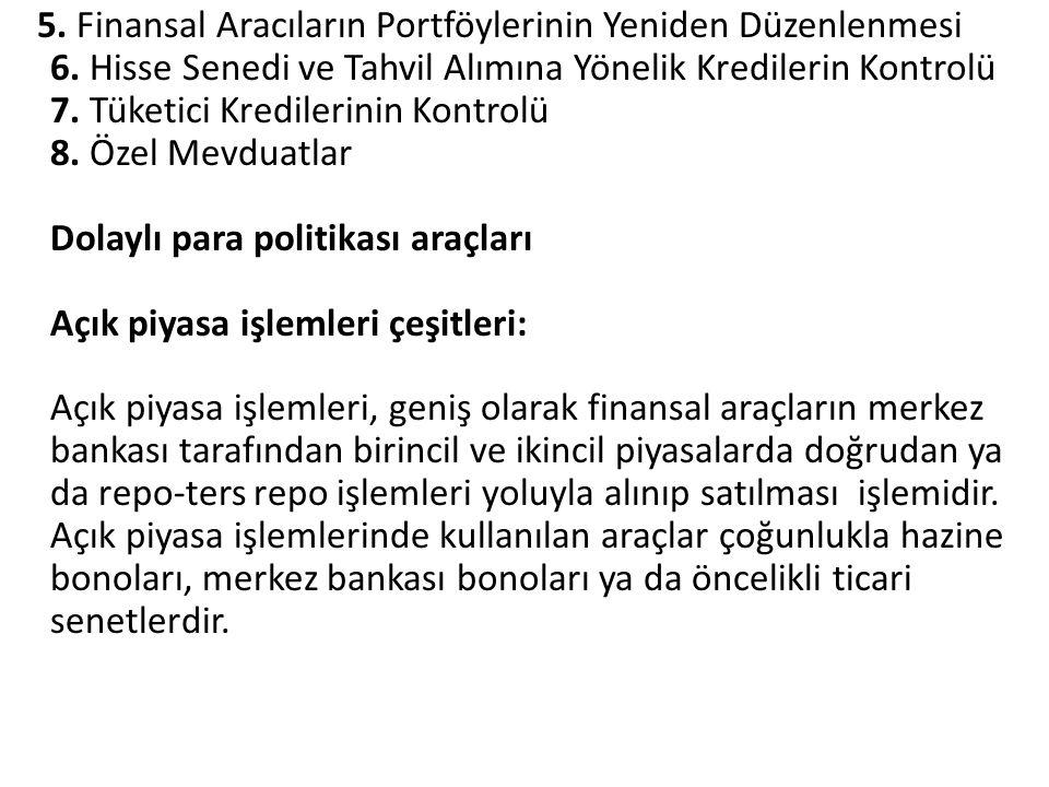 5. Finansal Aracıların Portföylerinin Yeniden Düzenlenmesi 6. Hisse Senedi ve Tahvil Alımına Yönelik Kredilerin Kontrolü 7. Tüketici Kredilerinin Kont