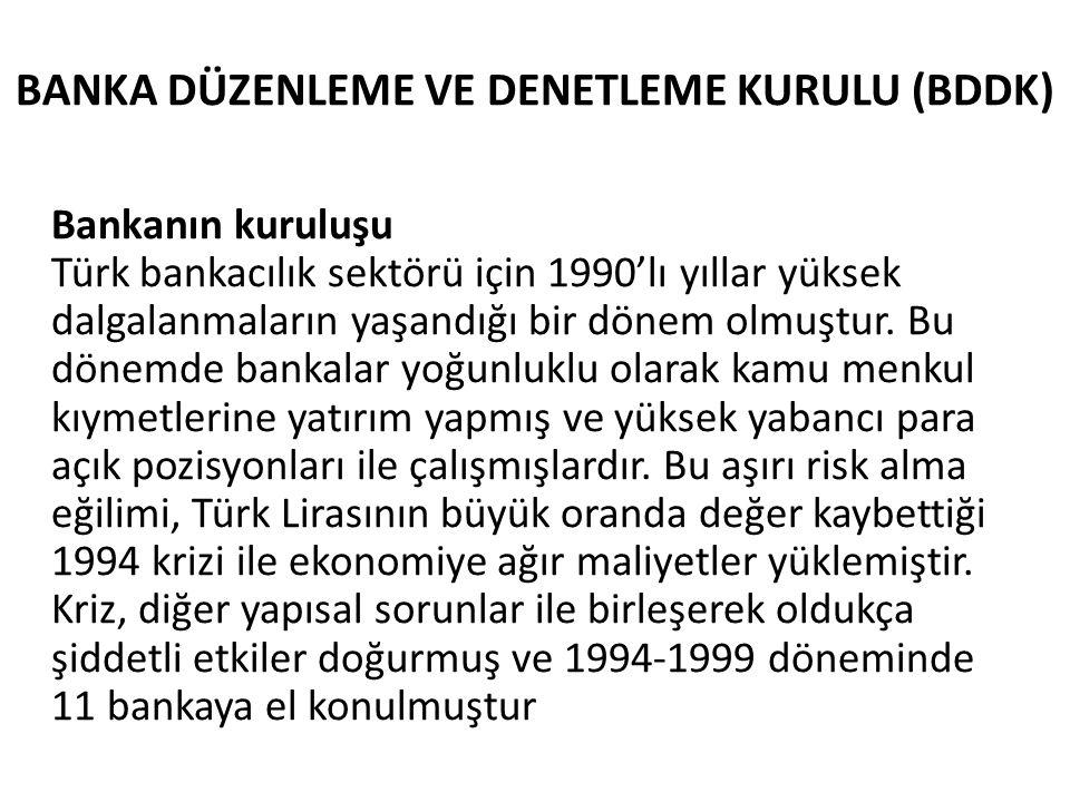 BANKA DÜZENLEME VE DENETLEME KURULU (BDDK) Bankanın kuruluşu Türk bankacılık sektörü için 1990'lı yıllar yüksek dalgalanmaların yaşandığı bir dönem ol