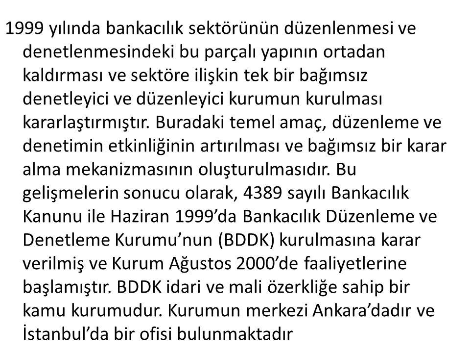 1999 yılında bankacılık sektörünün düzenlenmesi ve denetlenmesindeki bu parçalı yapının ortadan kaldırması ve sektöre ilişkin tek bir bağımsız denetle