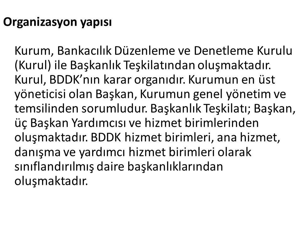 Organizasyon yapısı Kurum, Bankacılık Düzenleme ve Denetleme Kurulu (Kurul) ile Başkanlık Teşkilatından oluşmaktadır. Kurul, BDDK'nın karar organıdır.