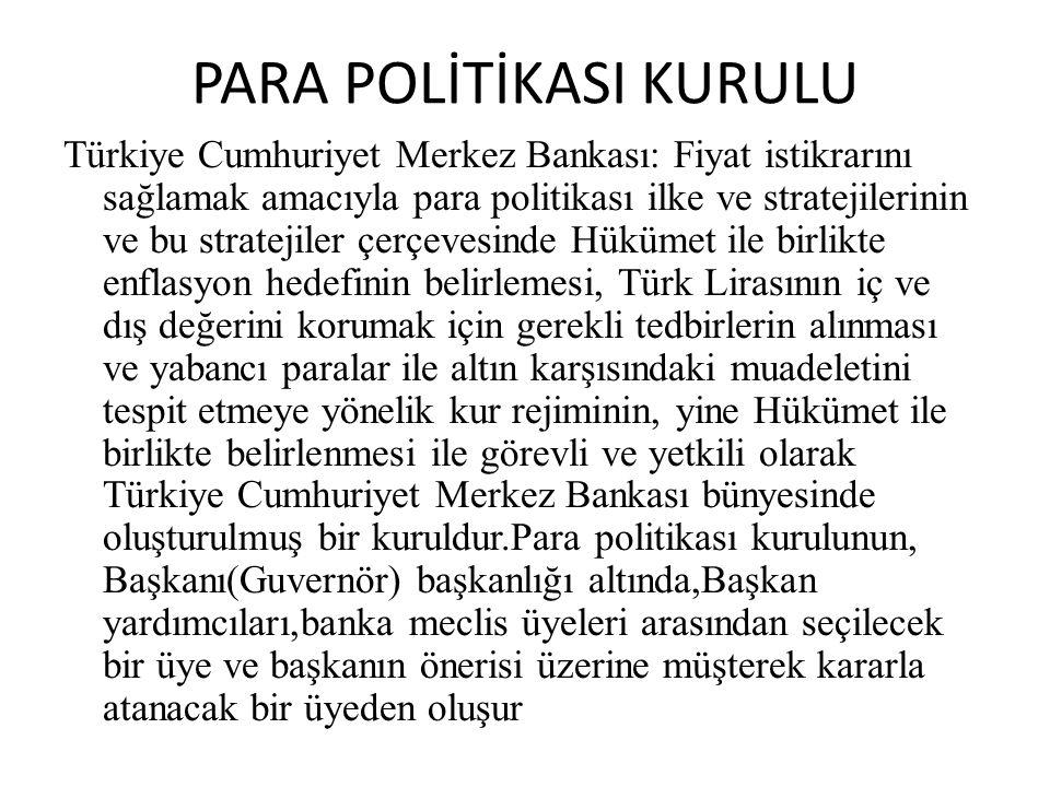 PARA POLİTİKASI KURULU Türkiye Cumhuriyet Merkez Bankası: Fiyat istikrarını sağlamak amacıyla para politikası ilke ve stratejilerinin ve bu stratejile