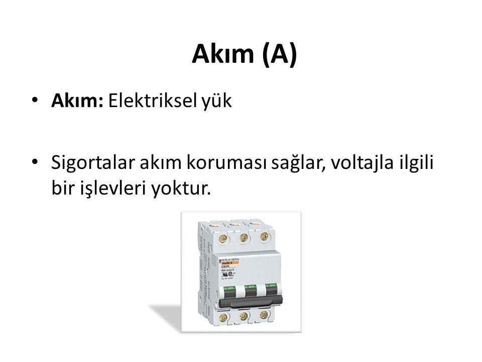 • Elektriğin iki ana öğesi: 1.AKIM (A) 2.VOLTAJ ya da GERİLİM (V) Birkaç Temel Bilgi