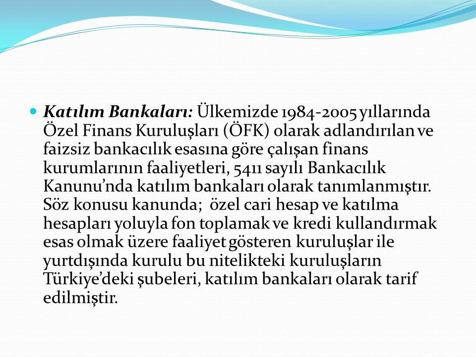  Katılım Bankaları: Ülkemizde 1984-2005 yıllarında Özel Finans Kuruluşları (ÖFK) olarak adlandırılan ve faizsiz bankacılık esasına göre çalışan finan