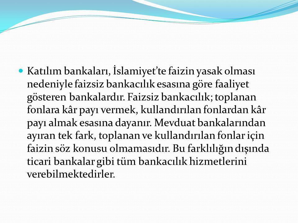  Katılım bankaları, İslamiyet'te faizin yasak olması nedeniyle faizsiz bankacılık esasına göre faaliyet gösteren bankalardır. Faizsiz bankacılık; top