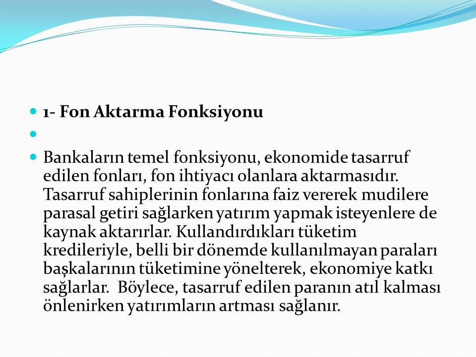  1- Fon Aktarma Fonksiyonu   Bankaların temel fonksiyonu, ekonomide tasarruf edilen fonları, fon ihtiyacı olanlara aktarmasıdır. Tasarruf sahipleri