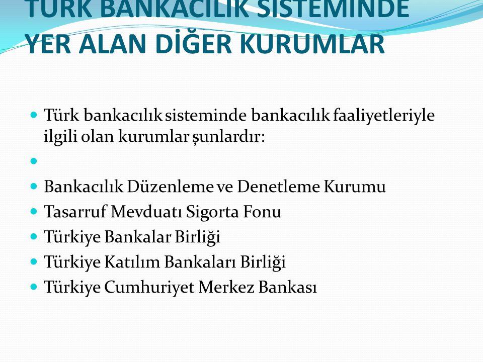 TÜRK BANKACILIK SİSTEMİNDE YER ALAN DİĞER KURUMLAR  Türk bankacılık sisteminde bankacılık faaliyetleriyle ilgili olan kurumlar şunlardır:   Bankacı