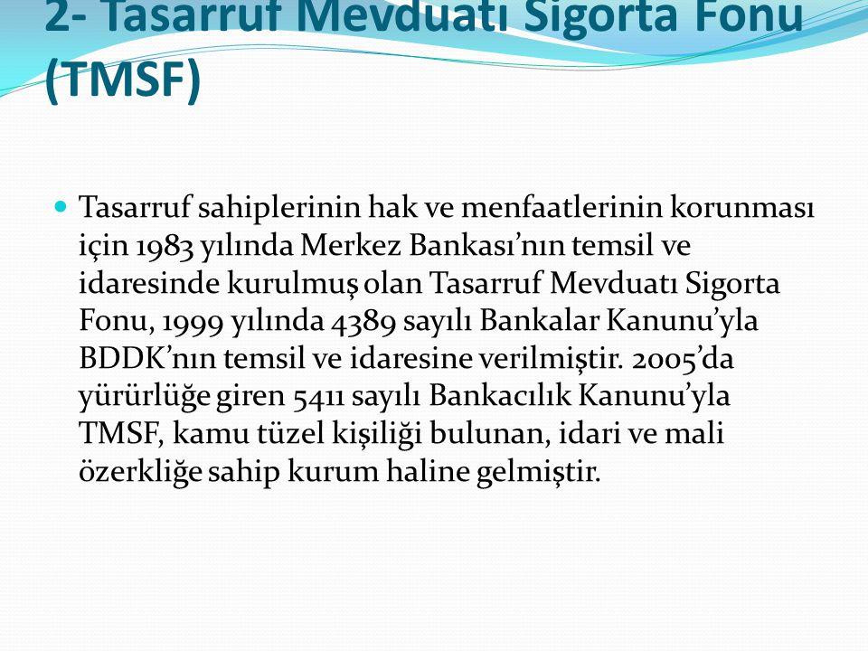 2- Tasarruf Mevduatı Sigorta Fonu (TMSF)  Tasarruf sahiplerinin hak ve menfaatlerinin korunması için 1983 yılında Merkez Bankası'nın temsil ve idares