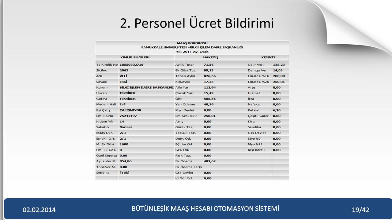 2. Personel Ücret Bildirimi BÜTÜNLEŞİK MAAŞ HESABI OTOMASYON SİSTEMİ 02.02.201419/42