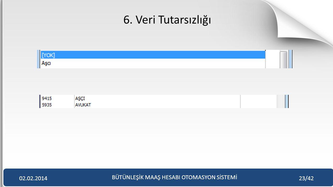 6. Veri Tutarsızlığı BÜTÜNLEŞİK MAAŞ HESABI OTOMASYON SİSTEMİ 02.02.201423/42