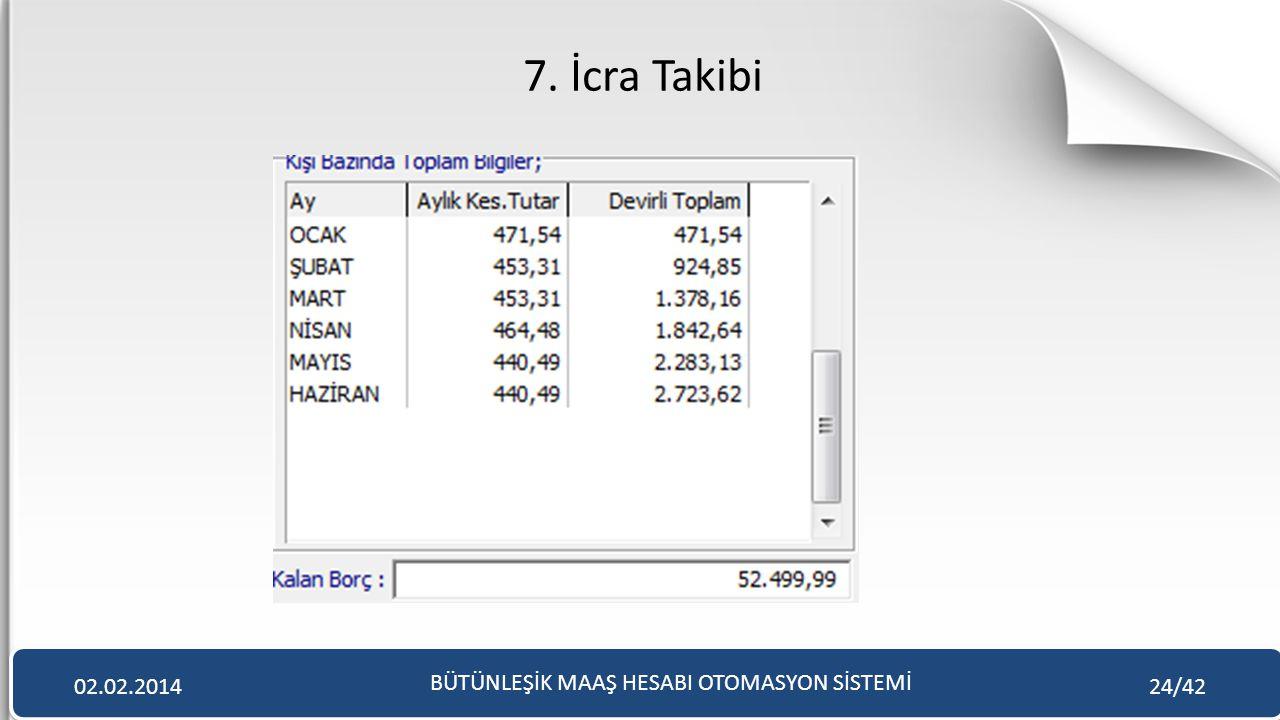 7. İcra Takibi BÜTÜNLEŞİK MAAŞ HESABI OTOMASYON SİSTEMİ 02.02.201424/42
