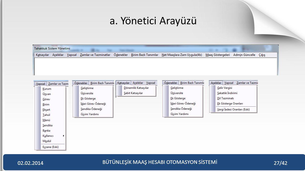 a. Yönetici Arayüzü BÜTÜNLEŞİK MAAŞ HESABI OTOMASYON SİSTEMİ 02.02.201427/42