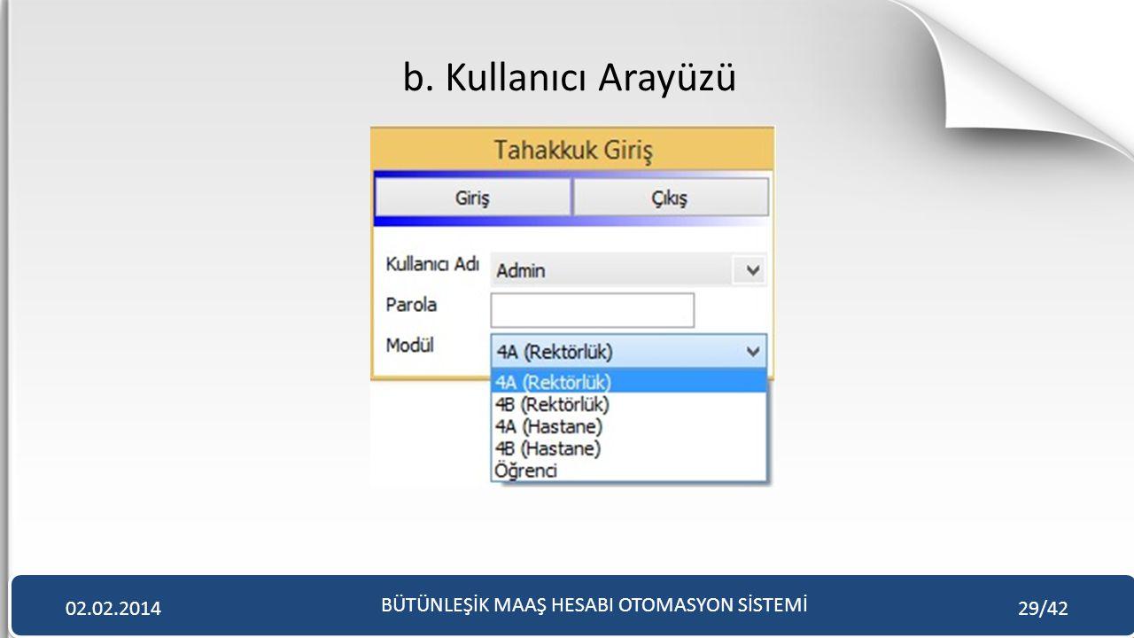 b. Kullanıcı Arayüzü BÜTÜNLEŞİK MAAŞ HESABI OTOMASYON SİSTEMİ 02.02.201429/42
