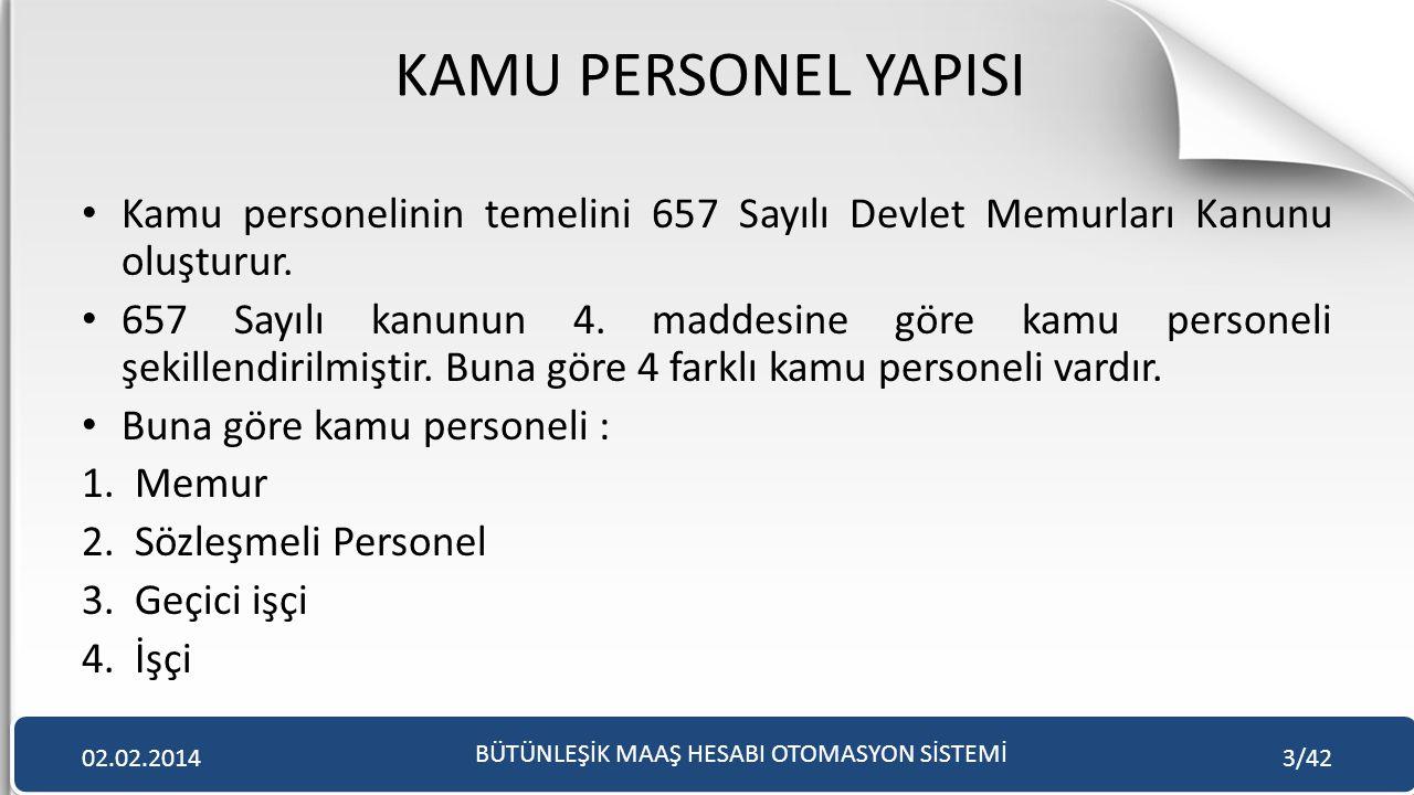KAMU PERSONEL YAPISI • Kamu personelinin temelini 657 Sayılı Devlet Memurları Kanunu oluşturur. • 657 Sayılı kanunun 4. maddesine göre kamu personeli
