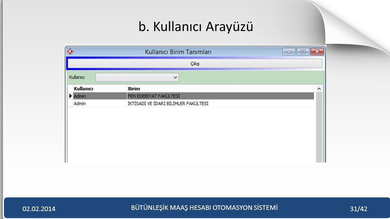 b. Kullanıcı Arayüzü BÜTÜNLEŞİK MAAŞ HESABI OTOMASYON SİSTEMİ 02.02.201431/42