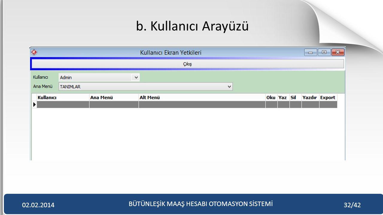 b. Kullanıcı Arayüzü BÜTÜNLEŞİK MAAŞ HESABI OTOMASYON SİSTEMİ 02.02.201432/42