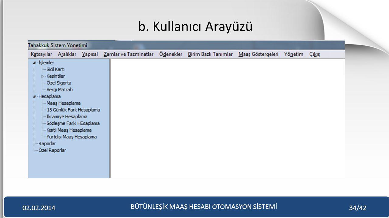 b. Kullanıcı Arayüzü BÜTÜNLEŞİK MAAŞ HESABI OTOMASYON SİSTEMİ 02.02.201434/42