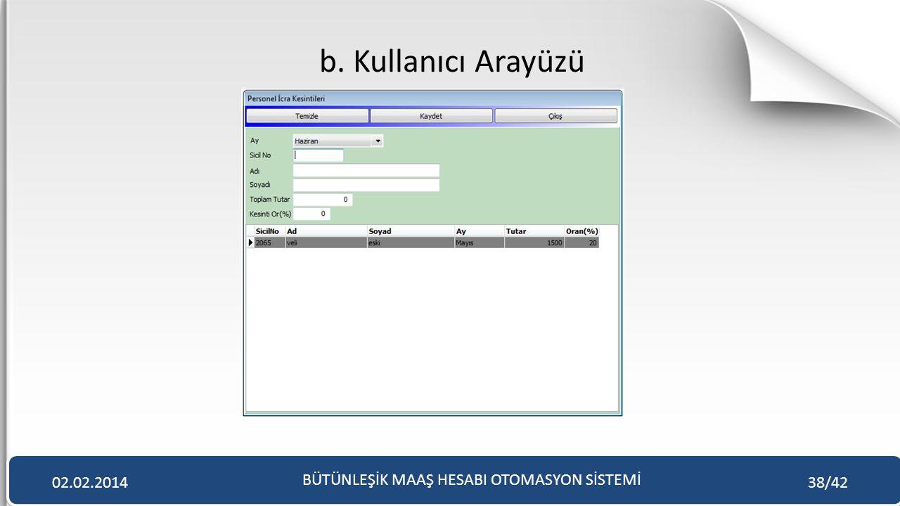b. Kullanıcı Arayüzü BÜTÜNLEŞİK MAAŞ HESABI OTOMASYON SİSTEMİ 02.02.201438/42