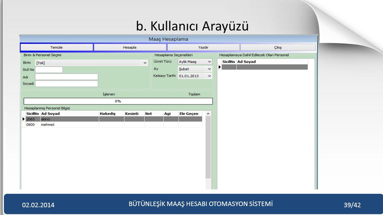 b. Kullanıcı Arayüzü BÜTÜNLEŞİK MAAŞ HESABI OTOMASYON SİSTEMİ 02.02.201439/42