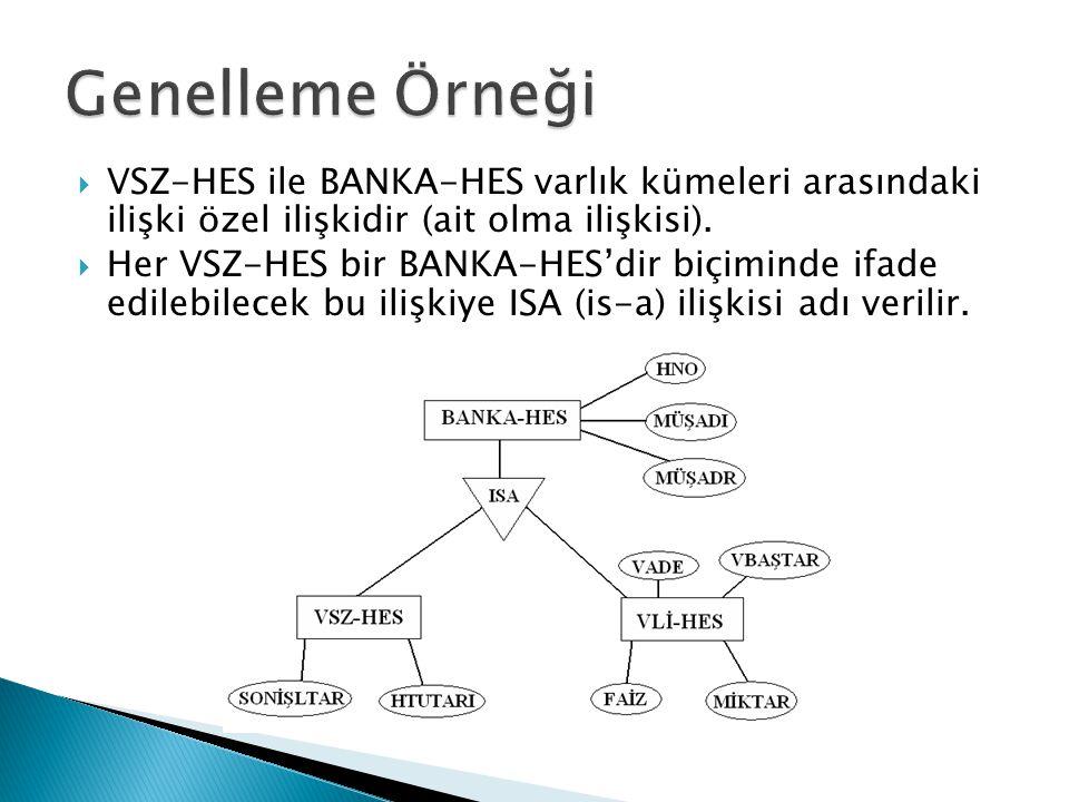  VSZ-HES ile BANKA-HES varlık kümeleri arasındaki ilişki özel ilişkidir (ait olma ilişkisi).  Her VSZ-HES bir BANKA-HES'dir biçiminde ifade edilebil