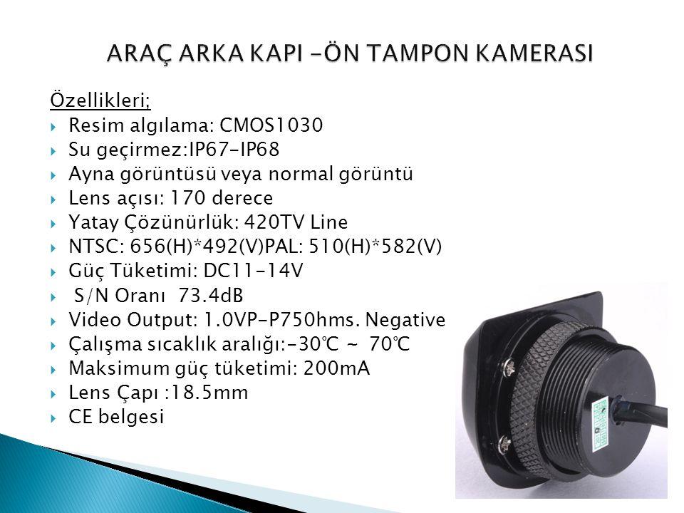 Özellikleri;  Resim algılama: CMOS1030  Su geçirmez:IP67-IP68  Ayna görüntüsü veya normal görüntü  Lens açısı: 170 derece  Yatay Çözünürlük: 420T
