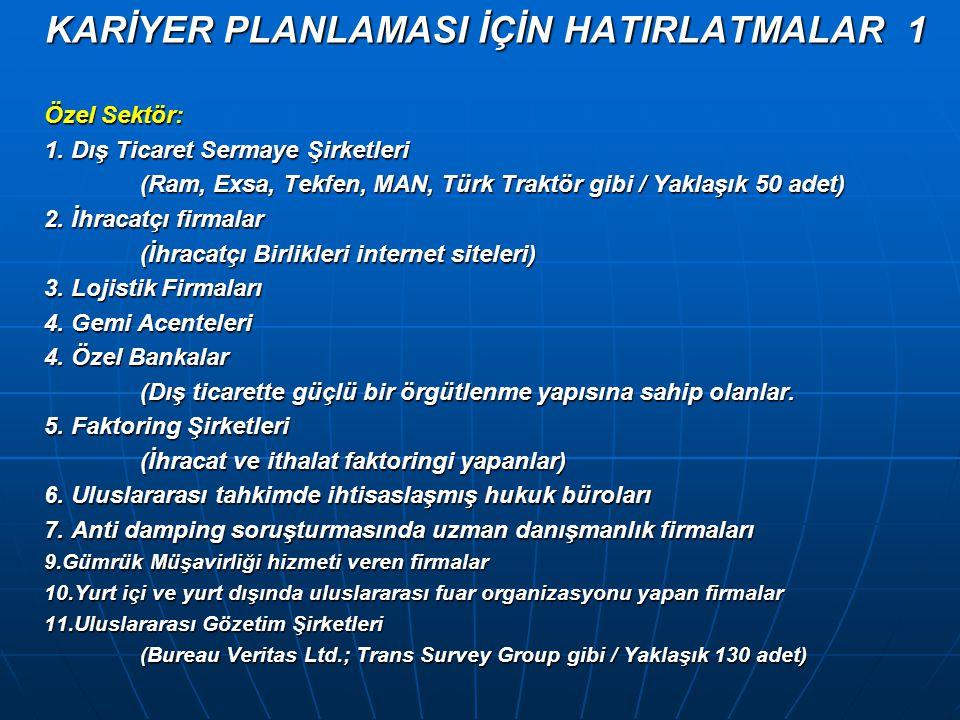 KARİYER PLANLAMASI İÇİN HATIRLATMALAR 1 Özel Sektör: 1. Dış Ticaret Sermaye Şirketleri (Ram, Exsa, Tekfen, MAN, Türk Traktör gibi / Yaklaşık 50 adet)