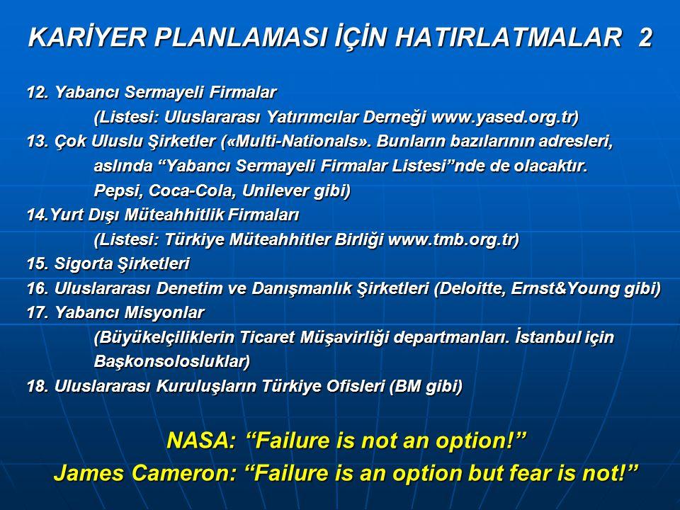 KARİYER PLANLAMASI İÇİN HATIRLATMALAR 2 12.
