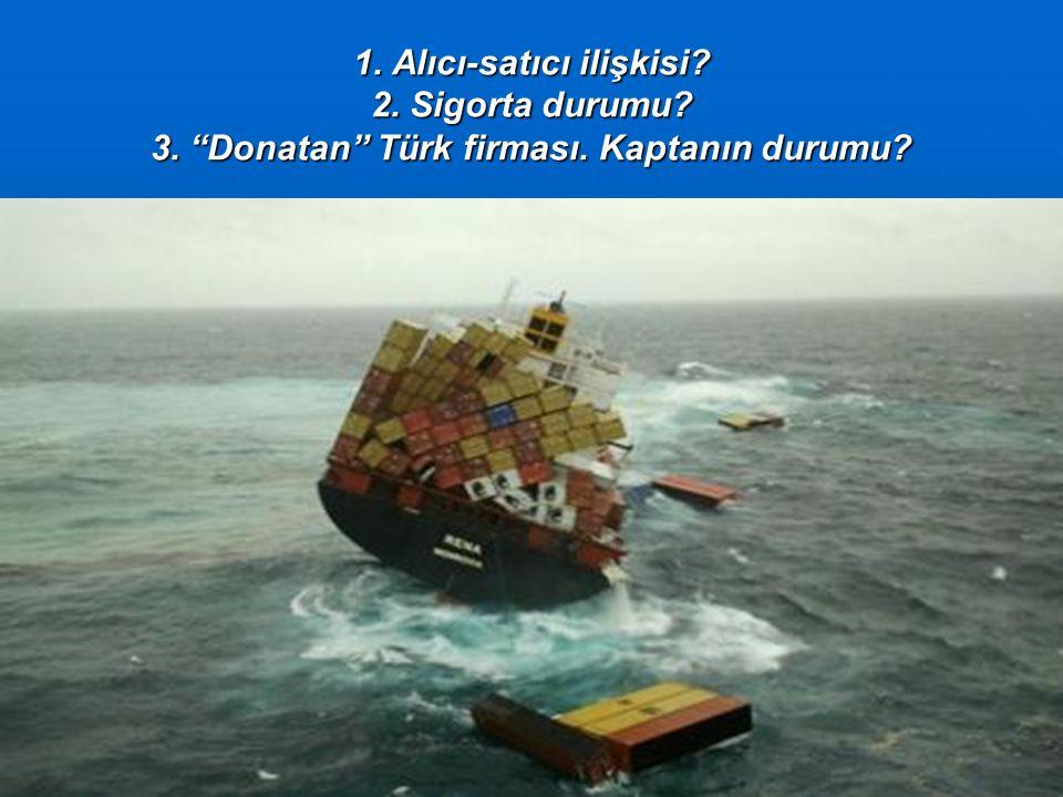 1. Alıcı-satıcı ilişkisi 2. Sigorta durumu 3. Donatan Türk firması. Kaptanın durumu