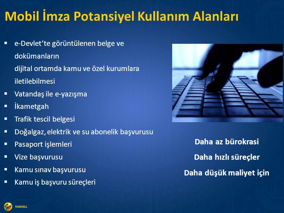 Mobil İmza Potansiyel Kullanım Alanları  e-Devlet'te görüntülenen belge ve dokümanların dijital ortamda kamu ve özel kurumlara iletilebilmesi  Vatan
