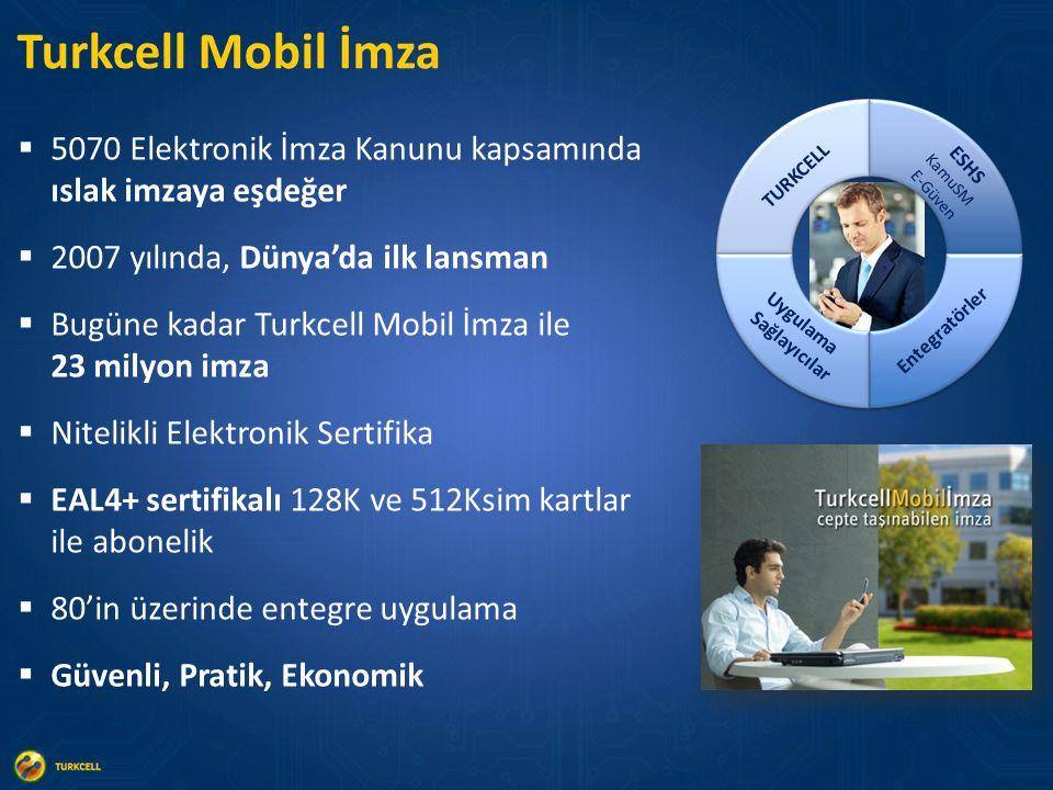  5070 Elektronik İmza Kanunu kapsamında ıslak imzaya eşdeğer  2007 yılında, Dünya'da ilk lansman  Bugüne kadar Turkcell Mobil İmza ile 23 milyon imza  Nitelikli Elektronik Sertifika  EAL4+ sertifikalı 128K ve 512Ksim kartlar ile abonelik  80'in üzerinde entegre uygulama  Güvenli, Pratik, Ekonomik Turkcell Mobil İmza ESHS KamuSM E-Güven Uygulama Sağlayıcılar TURKCELL Entegratörler