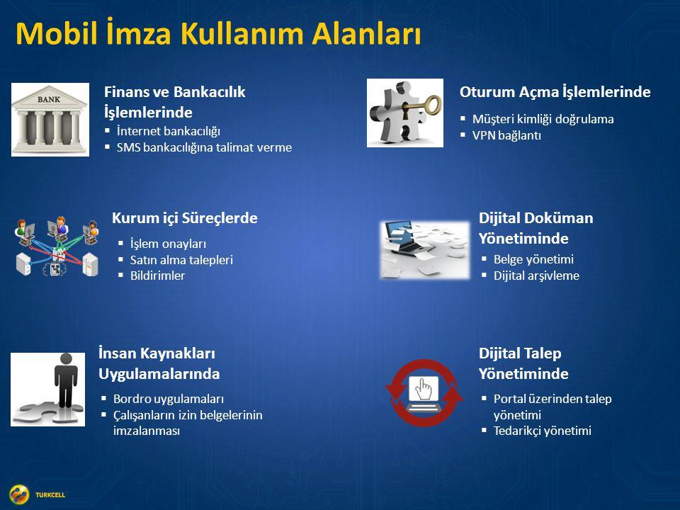 Mobil İmza Kullanım Alanları Oturum Açma İşlemlerinde Dijital Doküman Yönetiminde Kurum içi Süreçlerde İnsan Kaynakları Uygulamalarında Finans ve Bankacılık İşlemlerinde  İnternet bankacılığı  SMS bankacılığına talimat verme  İşlem onayları  Satın alma talepleri  Bildirimler  Müşteri kimliği doğrulama  VPN bağlantı  Bordro uygulamaları  Çalışanların izin belgelerinin imzalanması  Belge yönetimi  Dijital arşivleme Dijital Talep Yönetiminde  Portal üzerinden talep yönetimi  Tedarikçi yönetimi