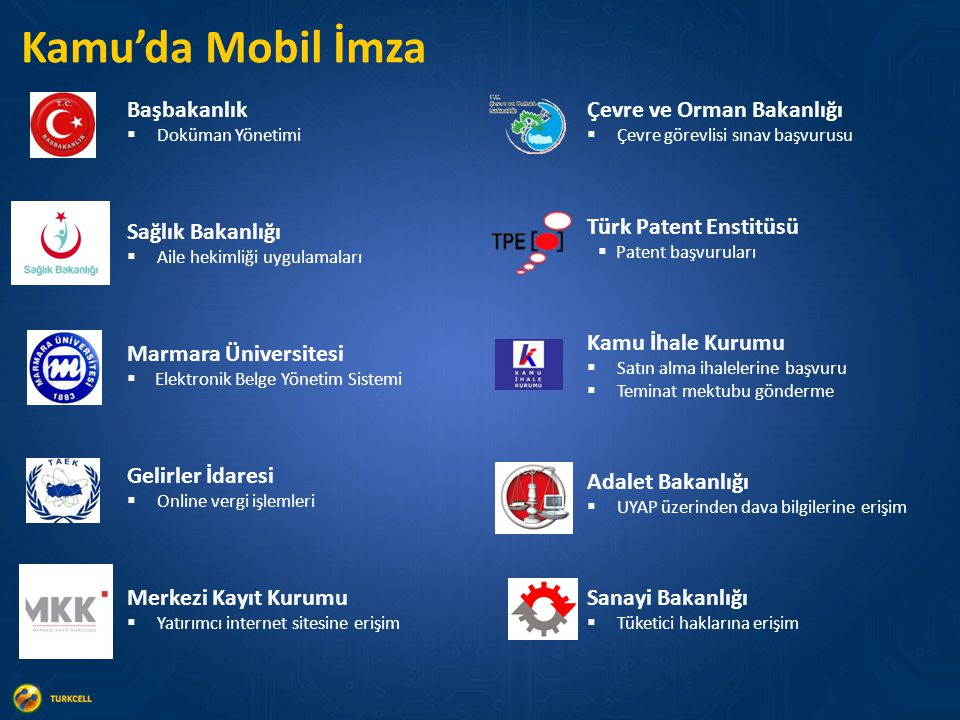 Kamu'da Mobil İmza Çevre ve Orman Bakanlığı  Çevre görevlisi sınav başvurusu Türk Patent Enstitüsü  Patent başvuruları Kamu İhale Kurumu  Satın alm