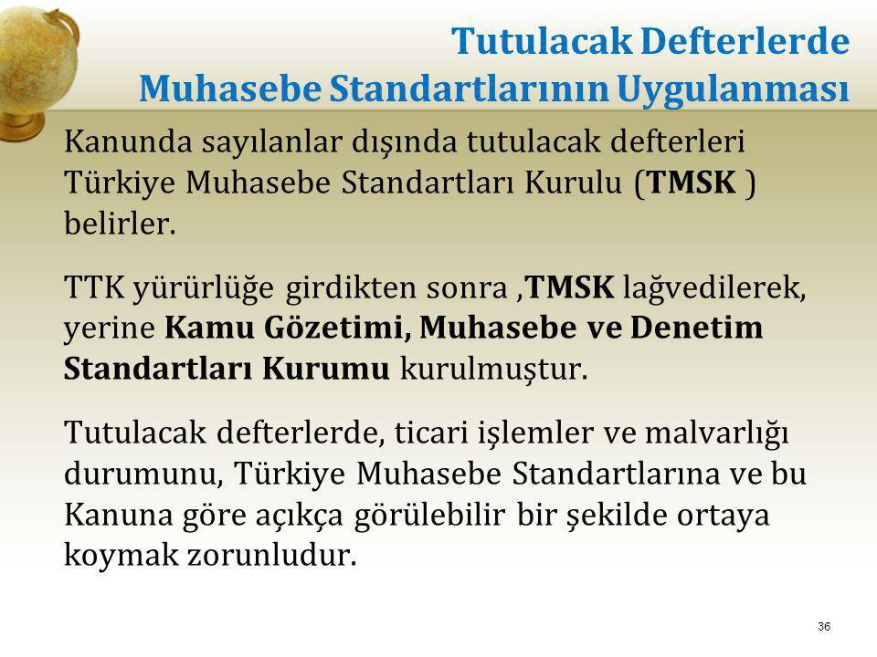 Tutulacak Defterlerde Muhasebe Standartlarının Uygulanması Kanunda sayılanlar dışında tutulacak defterleri Türkiye Muhasebe Standartları Kurulu (TMSK