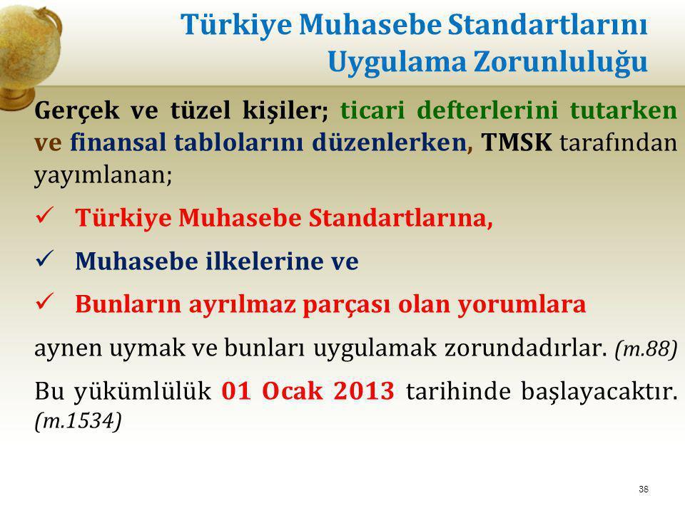 Türkiye Muhasebe Standartlarını Uygulama Zorunluluğu Gerçek ve tüzel kişiler; ticari defterlerini tutarken ve finansal tablolarını düzenlerken, TMSK t