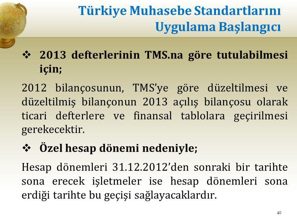 Türkiye Muhasebe Standartlarını Uygulama Başlangıcı  2013 defterlerinin TMS.na göre tutulabilmesi için; 2012 bilançosunun, TMS'ye göre düzeltilmesi v