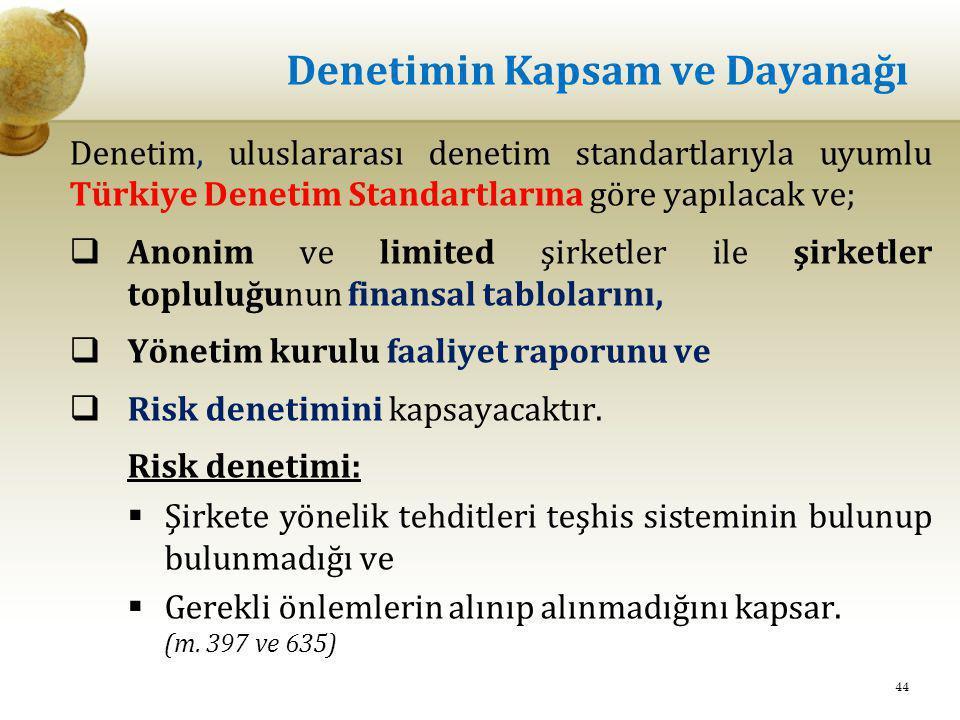 Denetimin Kapsam ve Dayanağı Denetim, uluslararası denetim standartlarıyla uyumlu Türkiye Denetim Standartlarına göre yapılacak ve;  Anonim ve limite