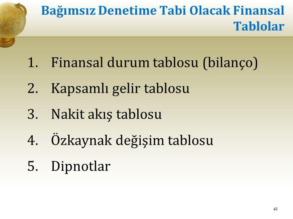 Bağımsız Denetime Tabi Olacak Finansal Tablolar 1.Finansal durum tablosu (bilanço) 2.Kapsamlı gelir tablosu 3.Nakit akış tablosu 4.Özkaynak değişim ta