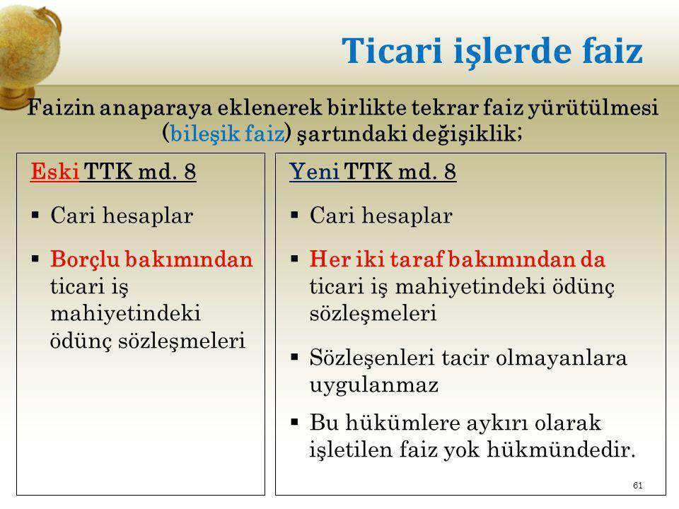 Ticari işlerde faiz Eski TTK md. 8  Cari hesaplar  Borçlu bakımından ticari iş mahiyetindeki ödünç sözleşmeleri Yeni TTK md. 8  Cari hesaplar  Her